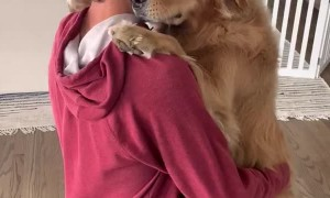 Dad and Dog Hug it Out