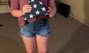 Girls Folding the Flag