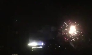 Crazy fireworks show occurs over soccer stadium in Buenos Aires