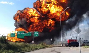 Fuel Tanker Fire Engulfs Highway