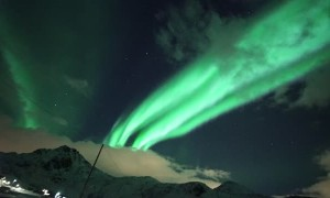 Aurora Borealis Cascades Sky in Alien-Green Light