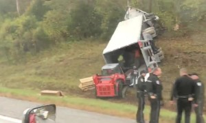Tractor-Trailer Turned on its Side