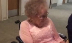 Elderly man's face lights up when he sees his wife in wedding dress