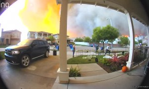 Doorbell Camera Captures Wildfire Evacuation