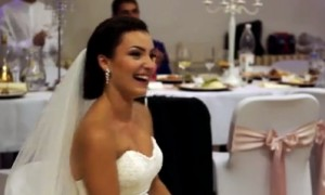 Groomsmen totally surprise bride with synchronized dance-off