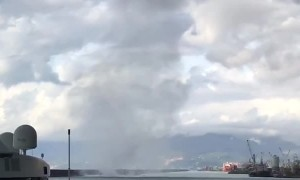 Huge Waterspout Heads Toward Waterfront