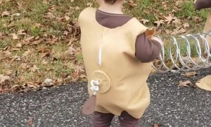 Twins Turn into Slinky Dog for Halloween