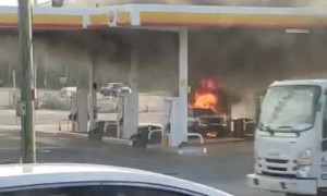 Gas Pump Fire Engulfs Car