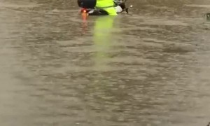 Flooded Intersection Motorcycle Fail