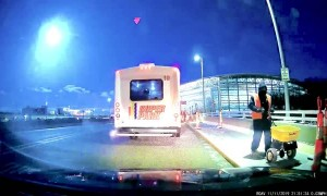 Dashcam Captures Meteor Streaking Across Sky