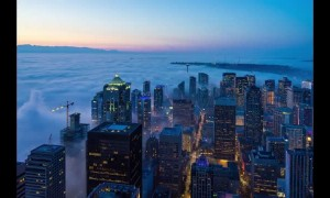 Breathtaking Seattle fogscape time lapse footage