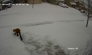 Boy Realises How Hard Shoveling Snow Is