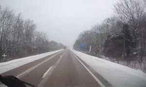 Black Ice Sends Truck Spinning