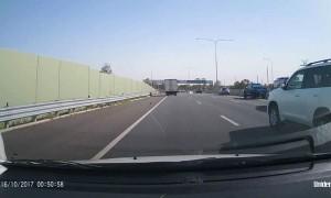 Fridge Falls From Car On Highway