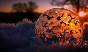 Bubble Freeze at Sunset