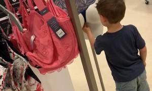 Curious Kid Investigates Mannequin
