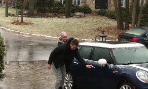 Teamwork Helps Navigate Super Slippery Driveway