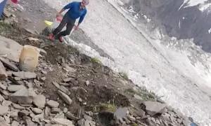 Bouncing Boulder Barely Misses Climber