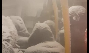 Snow Storm Strands Passengers in Bus