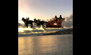 Santa Claus & his reindeer arrive in Switzerland