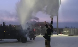 Boiling Water Turns to Snow in Negative Temperatures