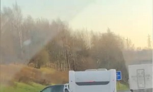 Truck Towing Camper Causes Scary Crash