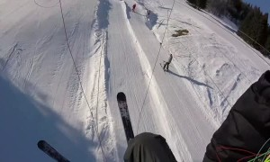 Paraglider Flies into Ski Lift Wire