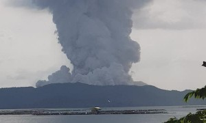 Ash Clouds Rise from Taal Volcano Eruption