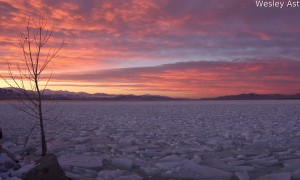 Sunset Time-lapse Over Frozen Utah Lake