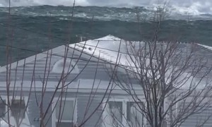 Massive Waves Crash Off Newfoundland Coast