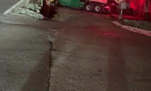 Train Plows Through Semi-Truck's Trailer