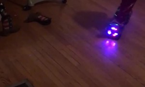 2-Year-Old Rides Hoverboard in Living Room