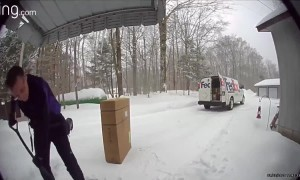Compassionate FedEx employee shovels steps while homeowner is away