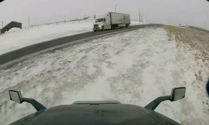 Sliding Semis Narrowly Avoid Head On Collision
