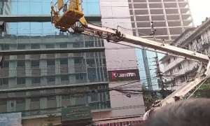 Cat Rescued from Skyscraper Ledge