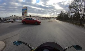 Cars Collide Right in Front of Rider