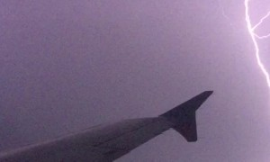 Intense Lightning Strike Captured From Plane
