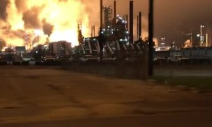 Exxon Mobile in Flames along Baton Rouge Highway
