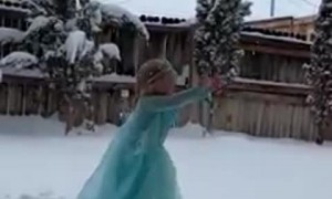 Little girl finally gets some snow to do her 'Frozen' scene