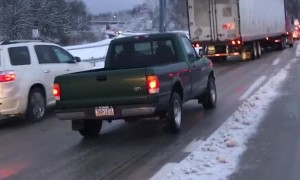 Truck Goes Nowhere Fast on Icy Roads