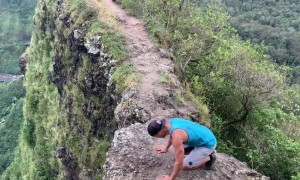 Daring Handstand on Cliff in Hawaii