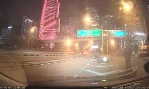 Strange Man Blocking Busy Freeway Exit