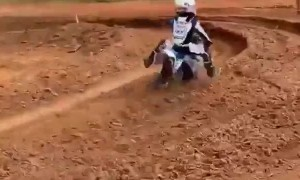 Motocross Rider Flips It in the Rut