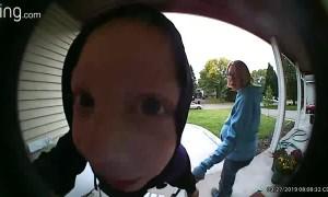Little Boy Licks Doorbell