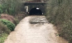 Storm Ciara completely floods railroad tracks in English village