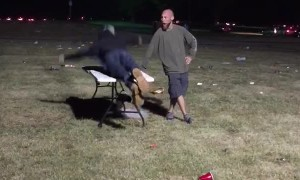 Party Goer Body Slams a Folding Table