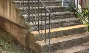 Pressure Washing a Dirty Staircase