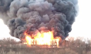 Spectacular fire rages out of control