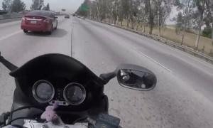 Merging Car Send Motorcycle Into Tiny Gap