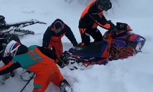 Snowmobile Pull Doesn't Go as Planned